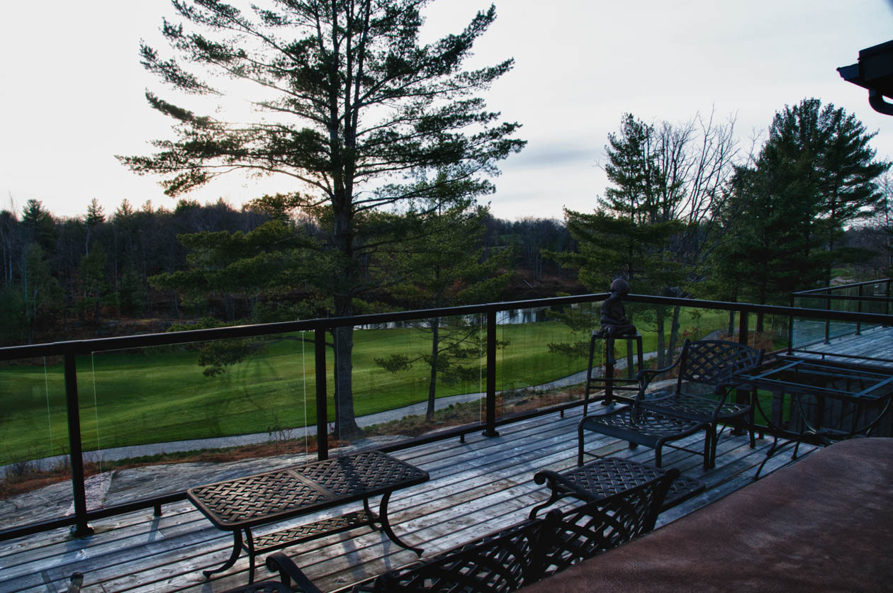 View toward pond from upper deck & hot tub